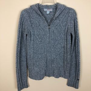 Hollister Thick Gray Cable Knit Two Way Zip Hoodie